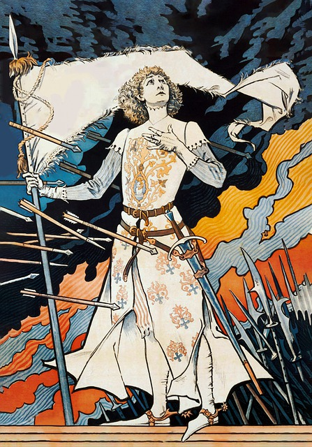 Joan Of Arc, Painting, Woman, Girl, Halberds, Arrows