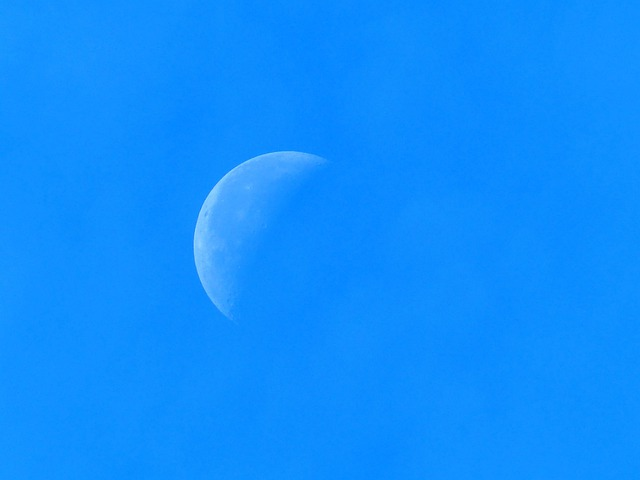 Half Moon, Sky, Blue, Clouds
