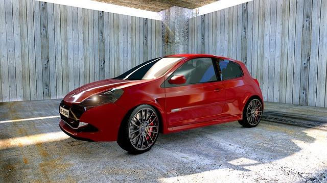 Renault, Clio, Sport, Autos, Automobile, Red, Hall, 3d