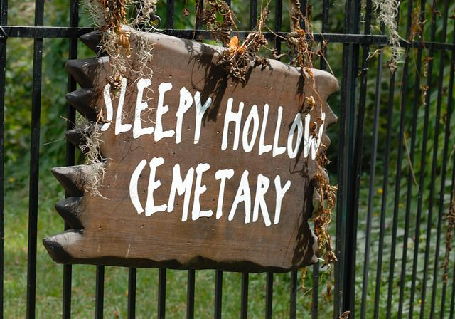 Sleepy Hollow Sign, Cemetary, Sign, Halloween, American