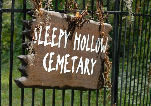 Sleepy Hollow Sign, Cemetary, Sign, Halloween, American