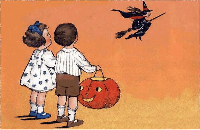 Witch, Halloween, Children, Pumpkin, Amazement, Fear