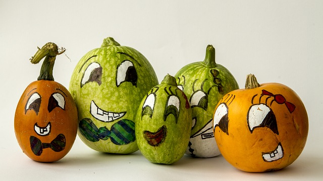 Pumpkins, Five, Fall, Halloween, Decoration, Color
