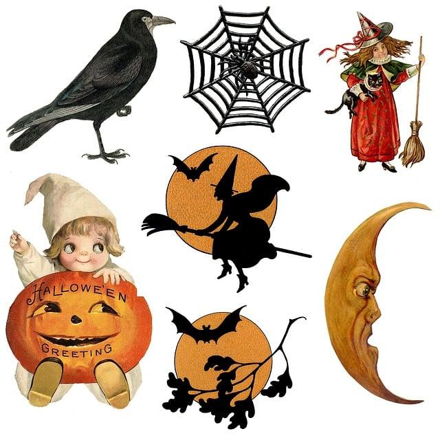 Halloween, Icons, Symbols, Vintage, Retro, Raven, Witch
