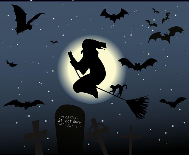 Halloween, The Witch, Hexenbesen, Cat, Moon, Star