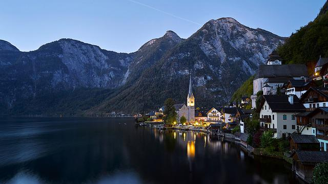 Hallstatt, Church, Lake, Austria, City, Lights