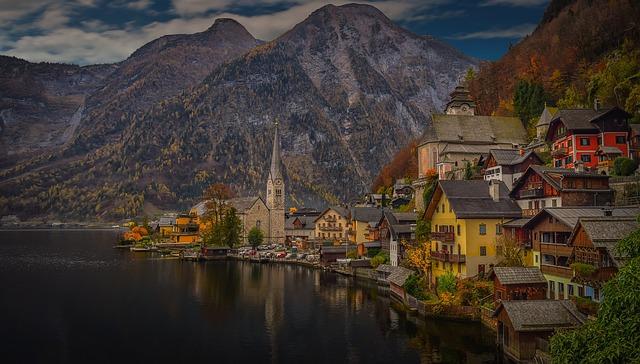 Hallstatt, Austria, Lake, Mountain, Reflection