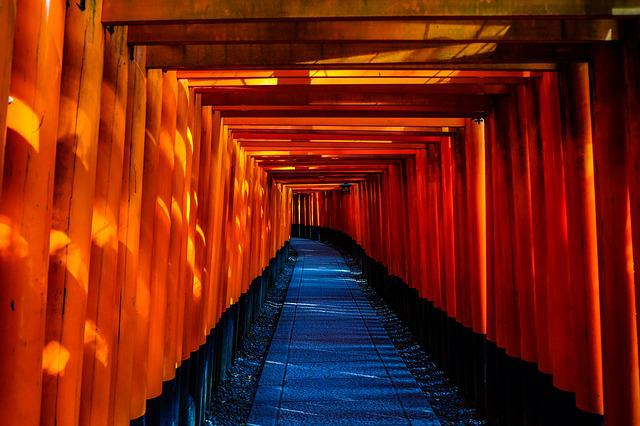 Japan, Temple, Architecture, Tunnel, Hallway, Indoors