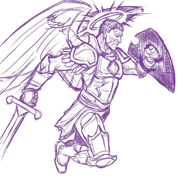 Angel, Warrior, Winged, Wings, Halo, Shield, Sword