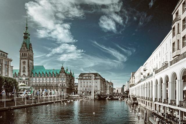 Architecture, Travel, Alster City, River, Hamburg