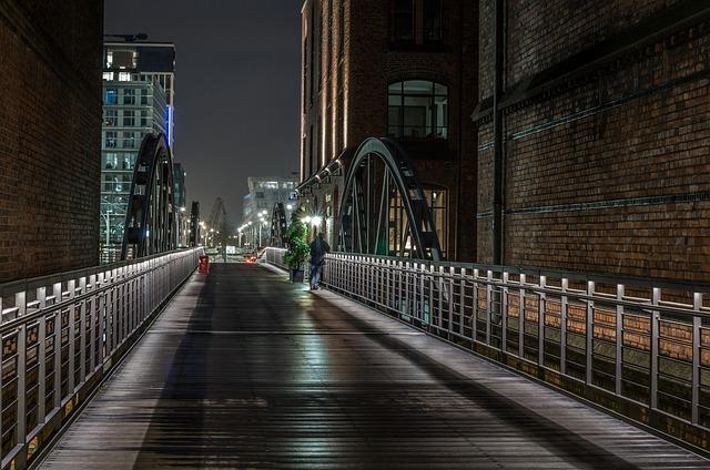 Hamburg, Night, Speicherstadt, Harbour City, Bridges