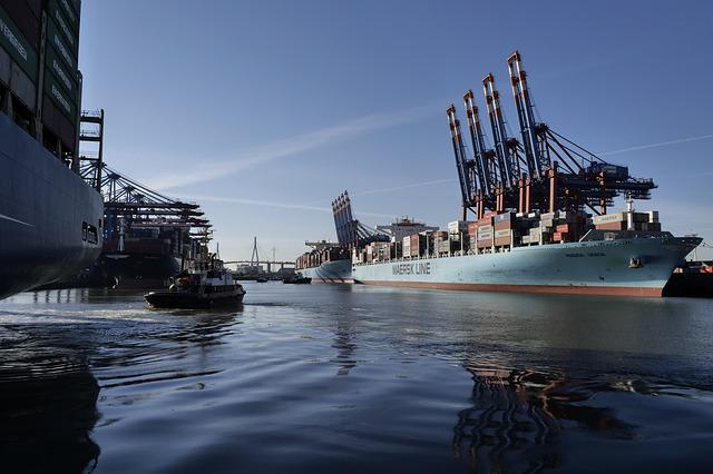 Hamburg, Port, Container, Container Ship, Tug