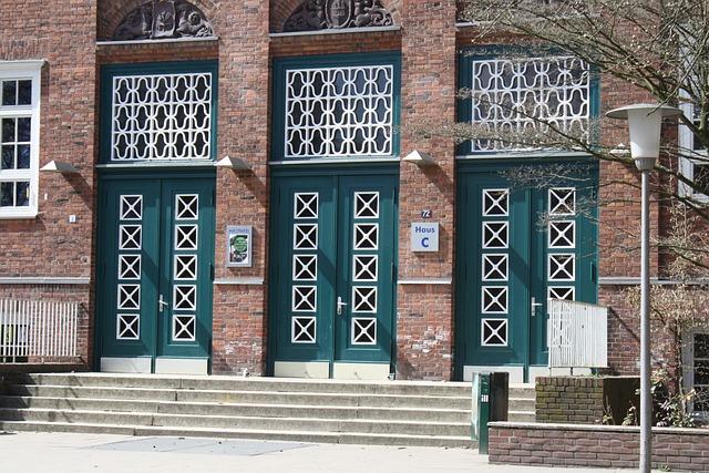 Doors, School, Input, Hamburg, Heinrich Hertz School