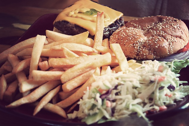 Hamburger, French Fries, Coleslaw, Cheese, Mustard