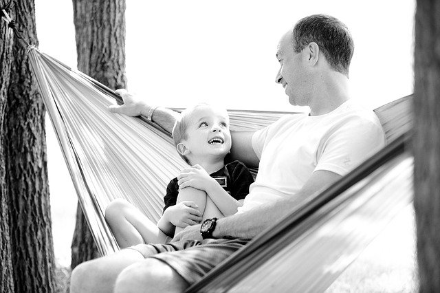Father, Son, Hammock, Boy, Child, Family, Happy
