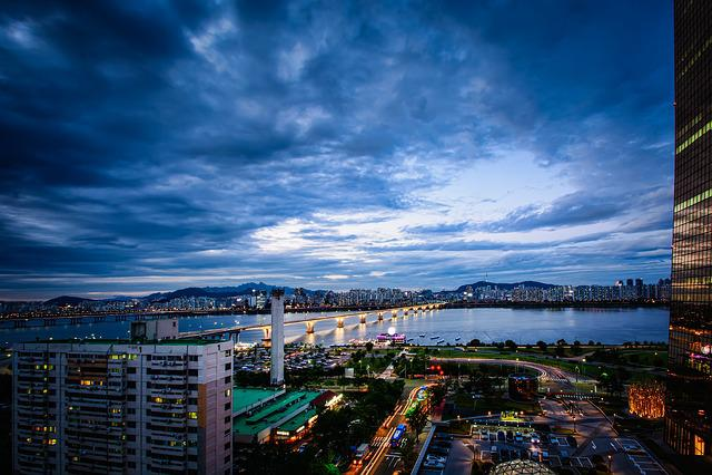 Seoul, Yeoido, Sky, Cloud, Korea, Han River