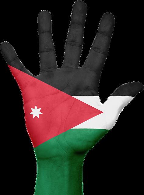 Jordan, Flag, Hand, National, Fingers, Patriotic