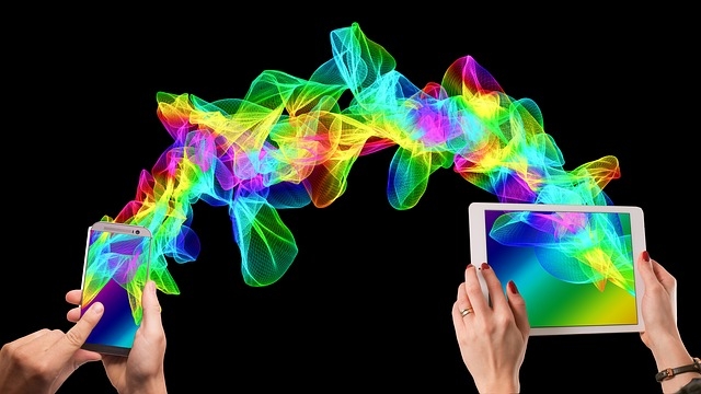 Mobile Phone, Smartphone, Hand, Tablet, Particles, Wave