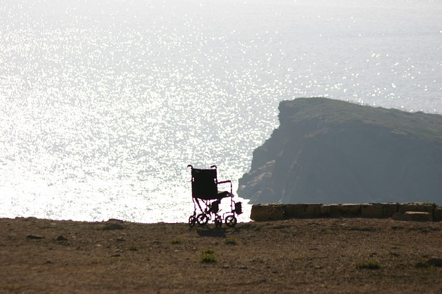 Wheelchair, Sun, Sea, Coast, Edge, Handicap