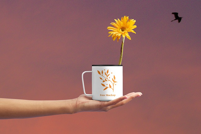 Flower Cup Mockup, Background, Cup, Flowers, Hands