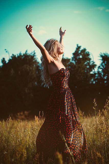 Freedom, Girl, Dress, Hands Up, Long, Blonde, Nature