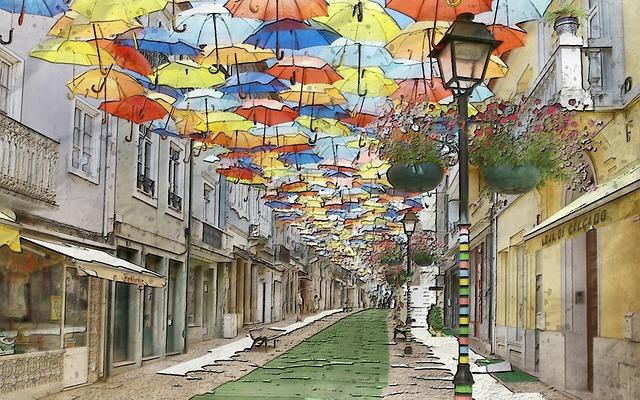 Umbrella, Hanging, Tourist, Destination, Shop, Sun
