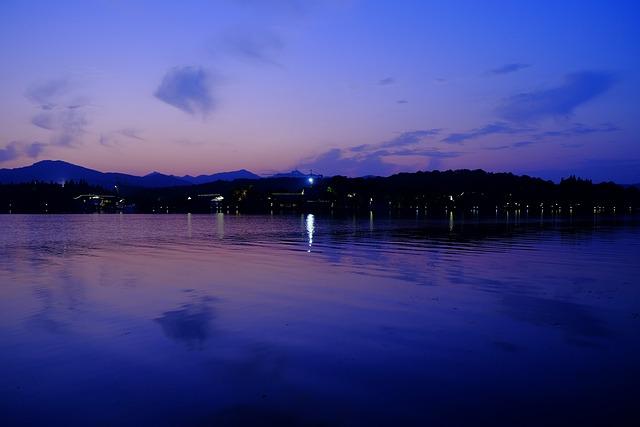 China, Hangzhou, West Lake, Sunset