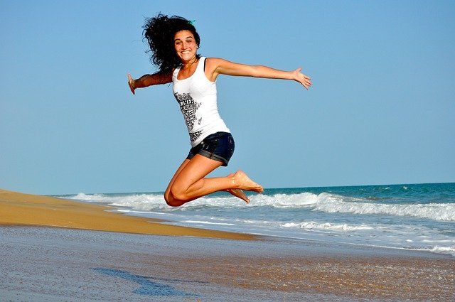 Woman, Beach, Jump, Happy Woman, Female, Happy, Smiling