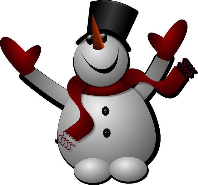 Snowman, Noel, Chapeau, Christmas, Gloves, Happy, Hat