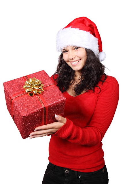 Christmas, Claus, Cute, Gift, Girl, Happy, Hat, Holiday