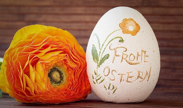 Ranunculus, Orange, Easter Egg, Deco-ei, Happy Easter