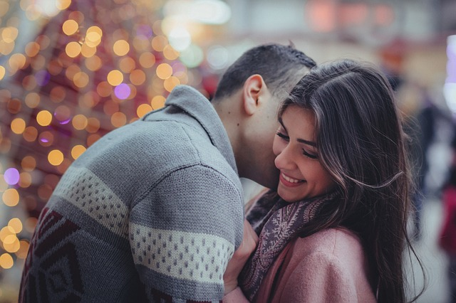 Bokeh, People, Couple, Happy, Kiss, Man, Woman, Smile