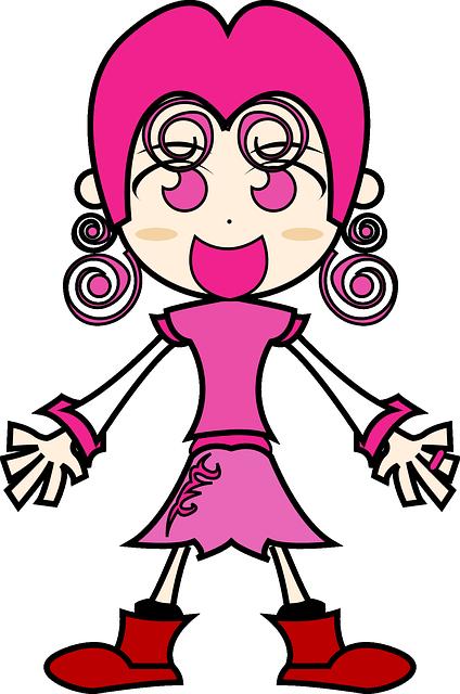 Character, Girl, Happy, People, Pink, Pinky, Smile