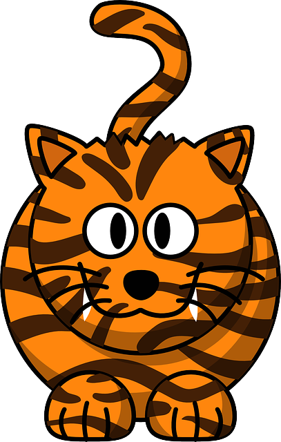 Tiger, Cat, Cute, Animal, Happy, Orange, Black, Striped