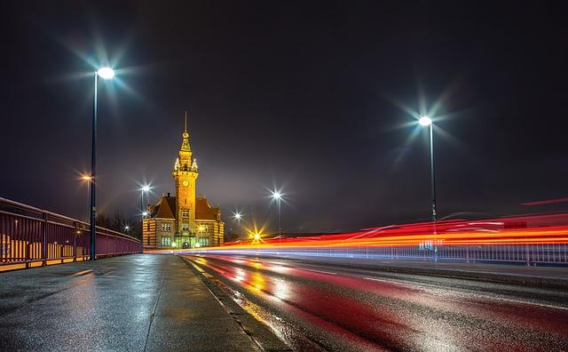 Night, Road, Architecture, Harbor Office, Dortmund