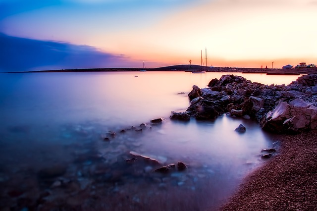 Croatia, Bay, Harbor, Boats, Ships, Sunset, Dusk, Rocks