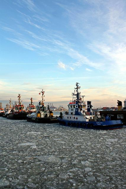 Tug, Bugsier, Port, Harbour Cruise, Hamburg, Ice