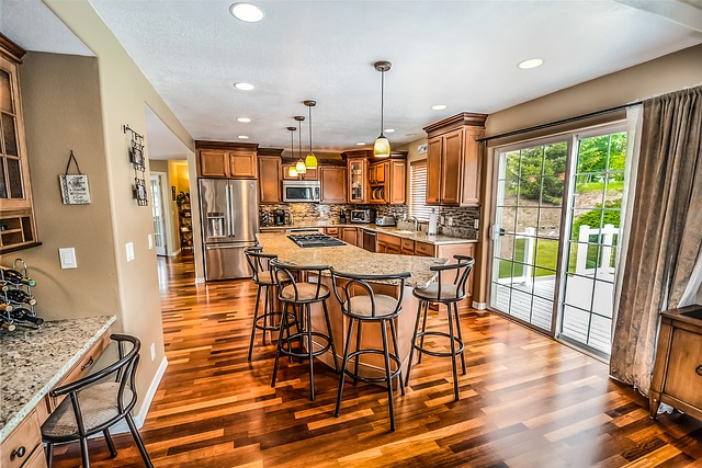 Kitchen, Center, Island, Deck, Hardwood, Wood, Floor