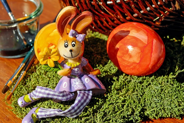 Easter Bunny, Easter, Hare, Figure, Sitting, Moss