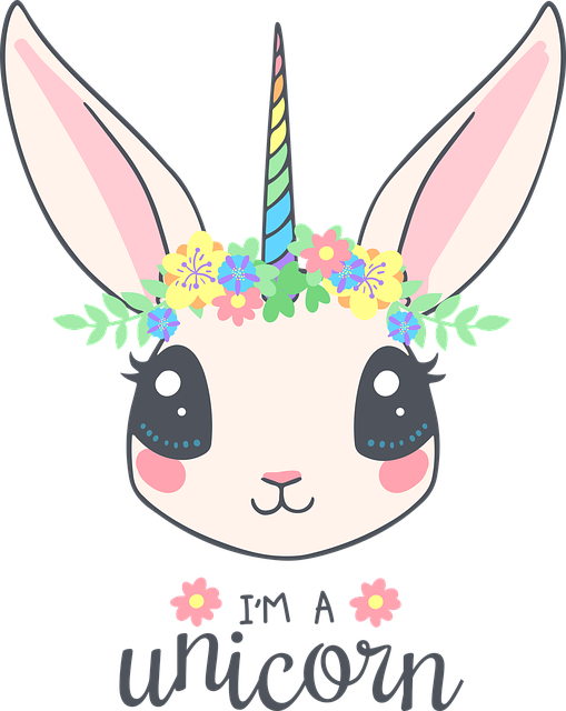Rabbit, Hare, Unicorn, Wreath, Cute, Grass