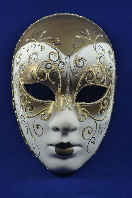 Mask, Carnival, Venice, Gold, Harlequin, White
