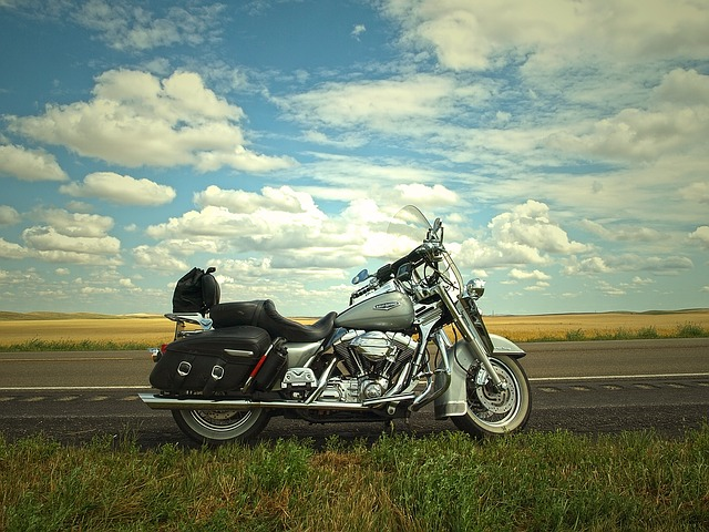 Sky, Road, Travel, Trip, Blue Sky, Motorcycle, Harley