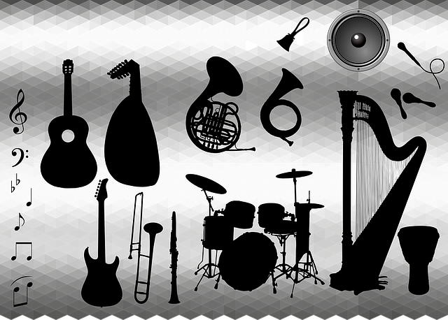 Bell, Clarinet, Drums, Guitar, Harp, Instruments, Lyre