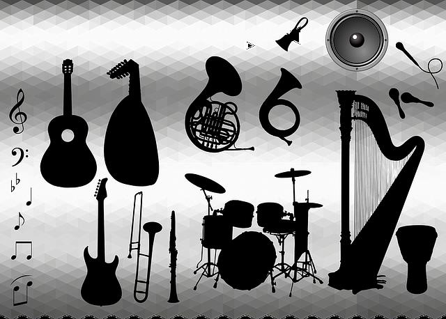 Bell, Clarinet, Drums, Guitar, Harp, Instruments, Lyre