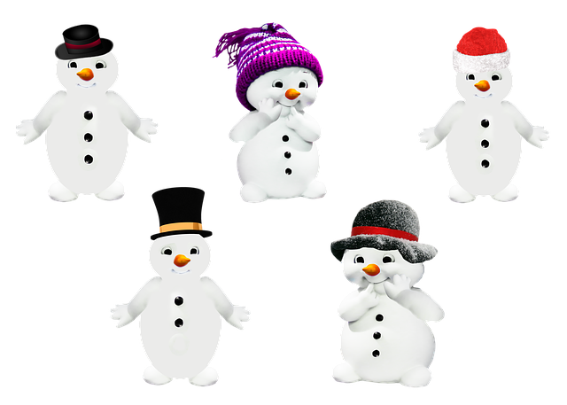 Snowman, Winter, Isolated, Cap, Hat, Melon, Buttons
