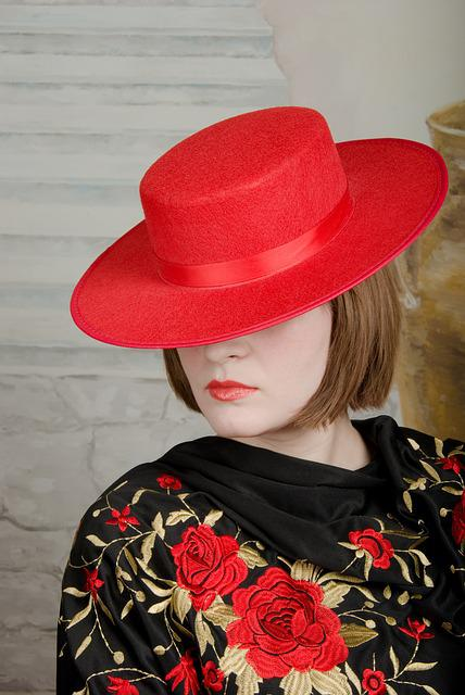 Girl, Hat, Red, Model, Lips