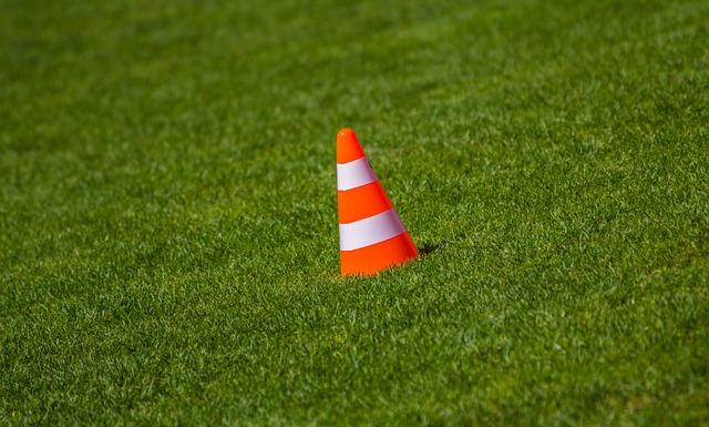 Pylons, Hat, Orange, Grass, Grass Green, Warning