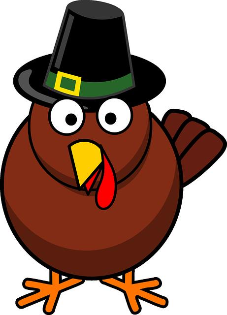 Cartoon, Fall, Thanksgiving, Turkey, Hat, Holiday