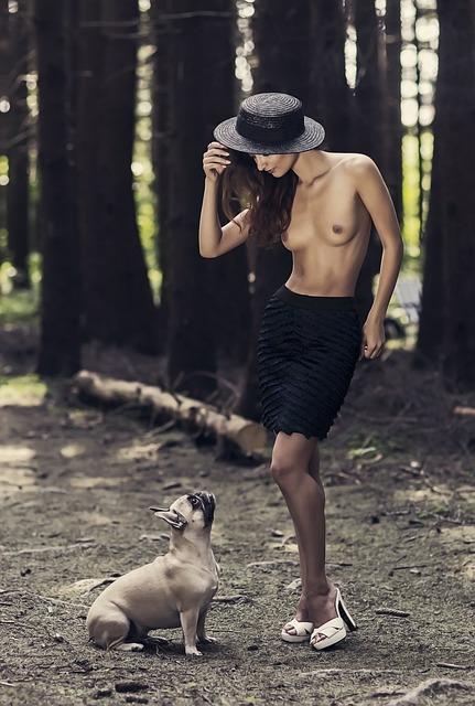 French Bulldog, Girl, Forest, Model, Hat, Shoes, Gerda