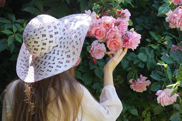 Girl, Hat, Pink, Rose, Rosebush, Young, Soft, Romance